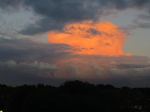 Red cloud behind