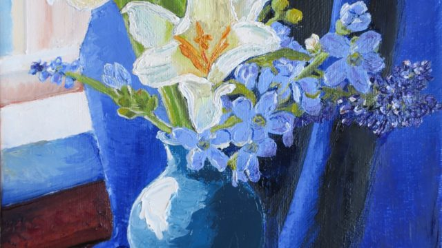 Lilies Surrounded by Blue